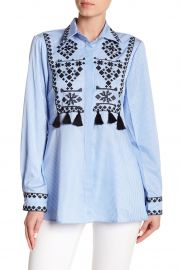 Tassel Trim Embroidered Button Down Shirt by Haute Rogue at Nordstrom Rack