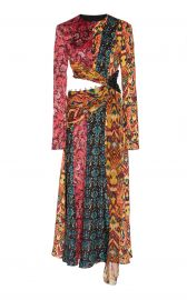 Taxila Cutout Patchwork-Effect Silk Midi Dress at Moda Operandi