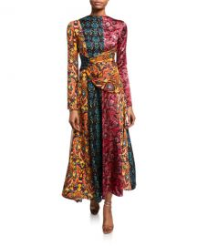 Taxila Floral Mix-Print Cutout Dress at Bergdorf Goodman