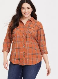 Taylor Dusty Orange Shirt by Torrid at Torrid