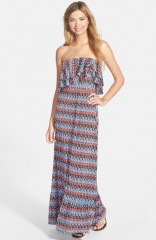 Tbags Los Angeles Print Ruffle Maxi Dress at Nordstrom