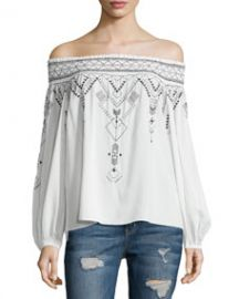 Teagan Off-The-Shoulder Tribal-Print Blouse  White at Neiman Marcus