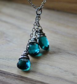 Teal Quartz Necklace by BlueSoulDesigns at Etsy