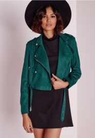 Teal Suede Jacket at Missguided