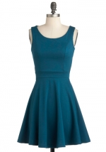 Teal blue dress with button back at Modcloth