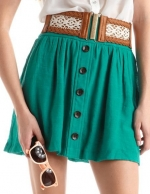 Teal button front skirt at Charlotte Russe at Charlotte Russe