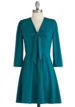 Teal green bow front dress at Modcloth