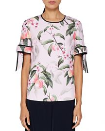 Ted Baker Cathe Peach Blossom Bow-Sleeve Top  at Bloomingdales