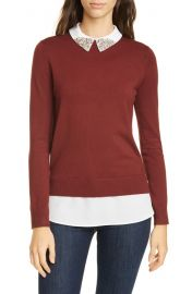 Ted Baker London Liaylo Sparkle Collar Layered Sweater   Nordstrom at Nordstrom