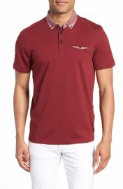 Ted Baker London Movey Trim Fit Woven Geo Polo in Red at Nordstrom