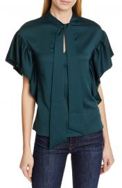 Ted Baker London Tie Neck Ruffle Sleeve Top   Nordstrom at Nordstrom