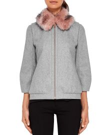 Ted Baker Robley Faux Fur-Collar Bomber Jacket at Bloomingdales