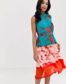 Ted Baker Camelis printed color block midi dress   ASOS at Asos