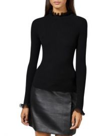 Ted Baker Dvana Frilled Trim Ribbed Sweater Women - Bloomingdale s at Bloomingdales