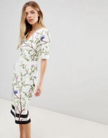 Ted Baker Evrely Bodycon Dress in Highgrove Print at asos com at Asos