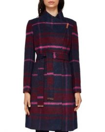 Ted Baker Fredye Check Long Wrap Coat Women - Bloomingdale s at Bloomingdales