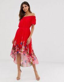 Ted Baker Gillyy bardot dress in berry sundae   ASOS at Asos