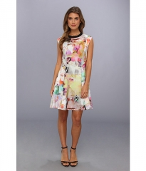 Ted Baker Jeneyy Electric Day Dream Dress Lemon at Zappos