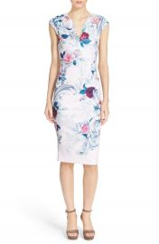 Ted Baker London   x27 Acanthus Scroll  x27  Floral Print Midi Dress   Nordstrom at Nordstrom