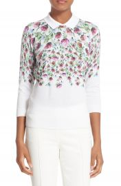 Ted Baker London   x27 Karn  x27  Thistle Print Cotton Sweater   Nordstrom at Nordstrom