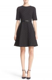 Ted Baker London  Cealine  Belted Texture Fit   Flare Dress at Nordstrom