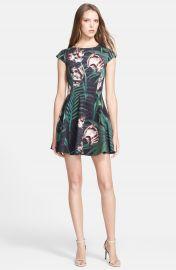 Ted Baker London  Florell  Palm Floral Print Neoprene Skater Dress at Nordstrom