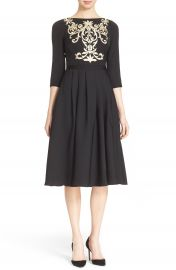 Ted Baker London  Shamari  Embroidered Bodice Midi Dress at Nordstrom