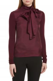 Ted Baker London Babri Tie Neck Mixed Media Sweater at Nordstrom