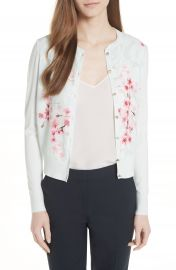 Ted Baker London Blossom Woven Front Cardigan at Nordstrom