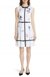 Ted Baker London Bow Trim Embroidered Dress at Nordstrom