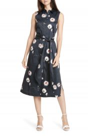 Ted Baker London Daisy Print Sleeveless Stretch Cotton Shirtdress   Nordstrom at Nordstrom