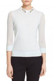 Ted Baker London Embellished Collar Mesh Sleeve Sweater at Nordstrom