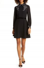 Ted Baker London Embroidered Collar Long Sleeve Shirtdress   Nordstrom at Nordstrom