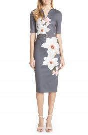 Ted Baker London Floral Print Belted Body-Con Dress at Nordstrom