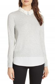 Ted Baker London Nansea Floral Collar Tiered Hem Sweater at Nordstrom