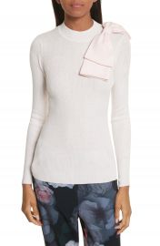 Ted Baker London Nehru Bow Skinny Rib Knit Sweater at Nordstrom