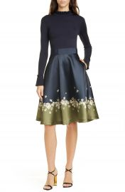 Ted Baker London Pearl Mixed Media Long Sleeve Fit  amp  Flare Dress   Nordstrom at Nordstrom