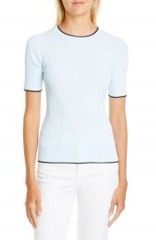 Ted Baker London Ribbed Tipped Detail Short Sleeve Sweater   Nordstrom at Nordstrom