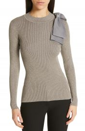 Ted Baker London Saaydie Bow Trim Metallic Sweater at Nordstrom