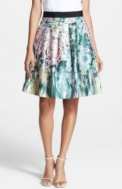 Ted Baker London and39Glitchand39 Floral Print A-Line Skirt at Nordstrom