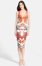 Ted Baker London and39Jameelaand39 Tropical Print Midi Dress at Nordstrom
