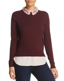 Ted Baker Nansea Floral Collar Layered-Look Sweater at Bloomingdales