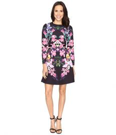Ted Baker Toona Lost Garden Long Sleeve Dress Black at Zappos