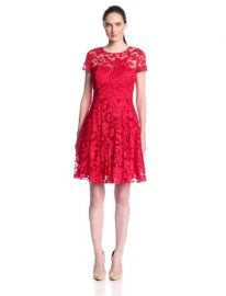 Ted Baker Womenand39s Caree Floral Lace Fit and Flare Dress Red 4 at Amazon
