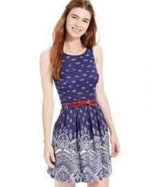 Teeze Me Juniors Printed Belted Dress at Macys