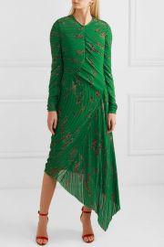 Teresa asymmetric floral-print plissé-georgette midi dress at Net A Porter