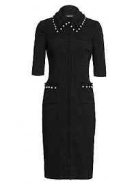 Teri Jon by Rickie Freeman - Boucl   Faux Pearl-Trimmed Sheath Dress at Saks Fifth Avenue