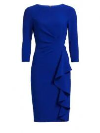 Teri Jon by Rickie Freeman - Crepe Side Ruffle Sheath Dress at Saks Fifth Avenue