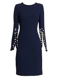 Teri Jon by Rickie Freeman - Crepe Split-Sleeve Pearl-Trim Wool Sheath Dress at Saks Fifth Avenue