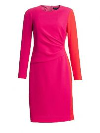 Teri Jon by Rickie Freeman - Draped Wool Sheath Dress at Saks Fifth Avenue